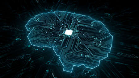 Artificial intelligence (AI), data mining, deep learning modern computer technologies. Futuristic Cyber Technology Innovation. Brain representing artificial intelligence with printed circuit board (PCB). Imagens