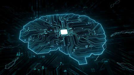 Artificial intelligence (AI), data mining, deep learning modern computer technologies. Futuristic Cyber Technology Innovation. Brain representing artificial intelligence with printed circuit board (PCB). Foto de archivo