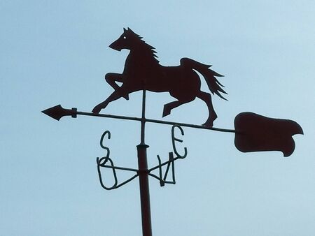 BLACK HORSE INDICATES CARDINAL POINTS WITH  BACKGROUND SKY