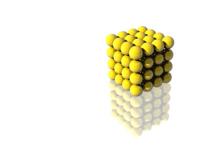 3d art: A 3D yellow cube made of perfect spheres