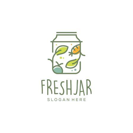 nourriture végétalienne fraîche / création de logo vectoriel pot de légumes et de fruits Logo