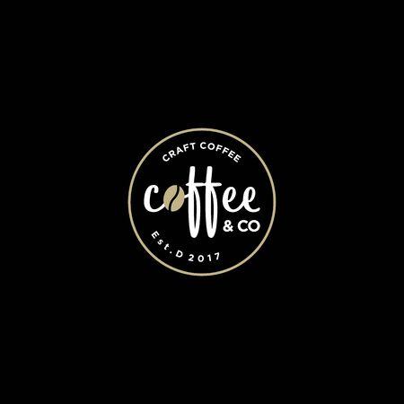 vintage bedge coffee shop vector logo design