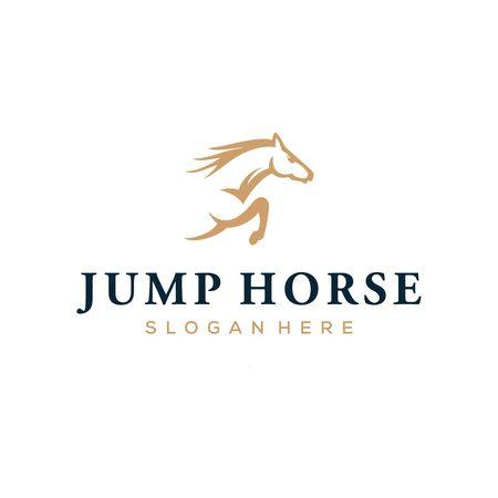 jump horse speed run vector logo design