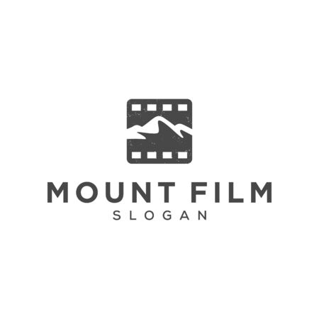 mountian film retro concept vector logo design