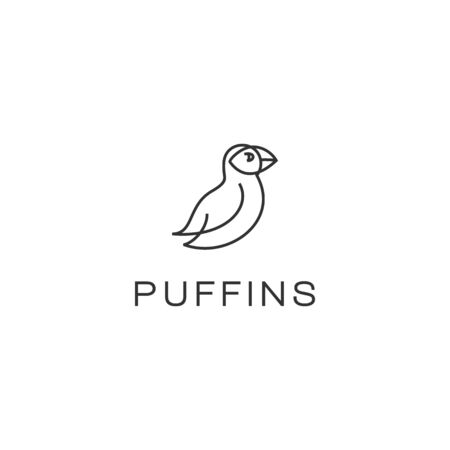 puffin bird outline vector logo design