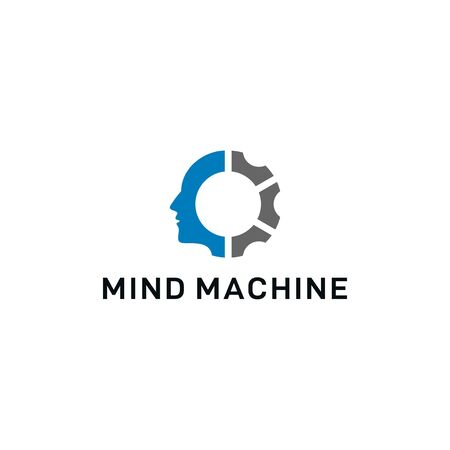 mind machine concept vector logo design