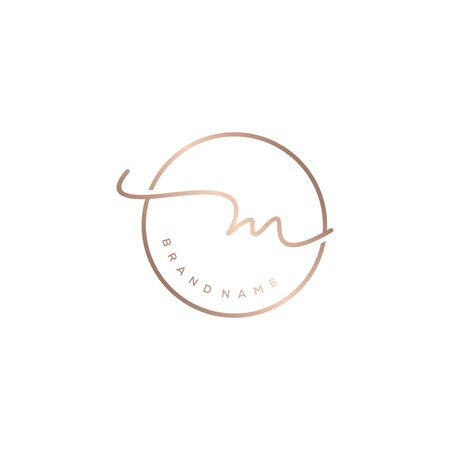M beauty initial monogram logo design