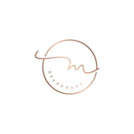M beauty initial monogram logo design