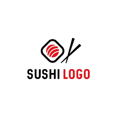 Sushi with chopstick vector logo template. Japanese traditional cuisine / asian sushi