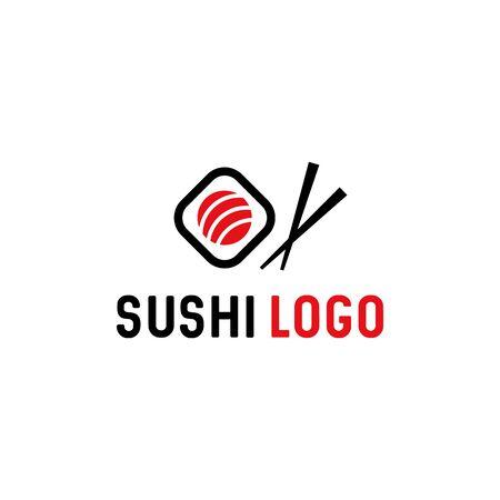 Sushi avec modèle de logo vectoriel de baguettes. Cuisine traditionnelle japonaise / sushi asiatique