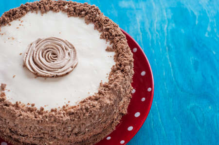 chocolate cake with whipped cream on the red plate