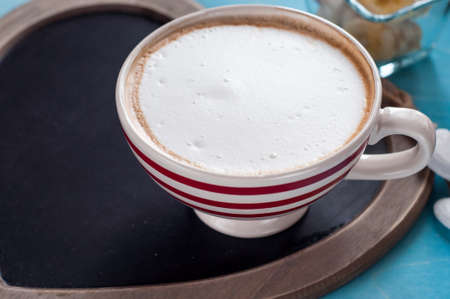 red coffee cup. top view Stock Photo