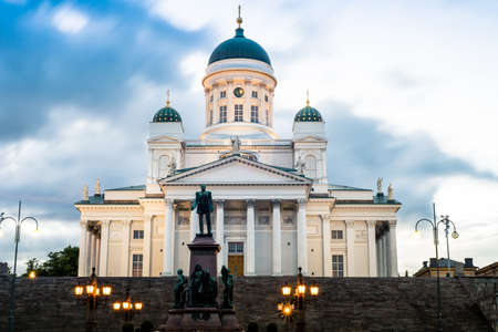 Helsinki, Finland. Famous Landmark In Finnish Capital - Senate Square With Lutheran Cathedral And Monument To Russian Emperor Alexander II At Summer Night Stock Photo