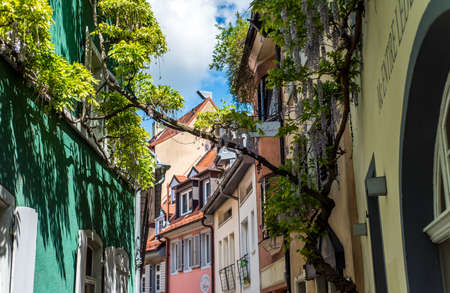 FREIBURG IM BREISGAU, GERMANY - May 17, 2017: old town street in Freiburg, a city in the south-western part of Germany in the Baden-Wurttemberg state. Editorial
