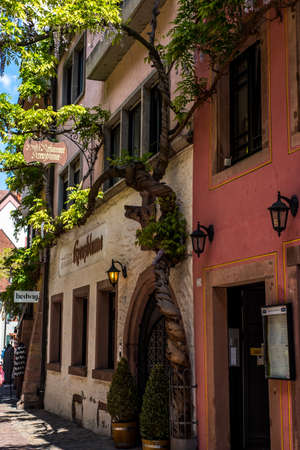 freiburg: FREIBURG IM BREISGAU, GERMANY - May 17, 2017: old town street in Freiburg, a city in the south-western part of Germany in the Baden-Wurttemberg state. Editorial