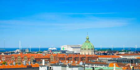 Skyline of Copenhagen with a cupola of Frederiks Church, Denmark