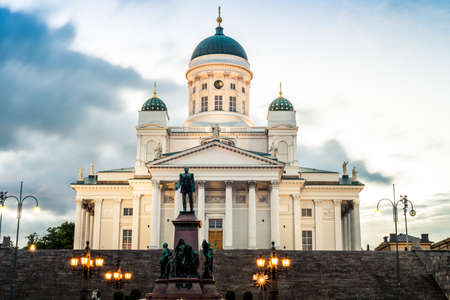 Beautiful view of famous Helsinki Cathedral in beautiful evening light, Helsinki, Finland Stock Photo
