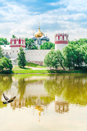 view of the Novodevichy Convent monastery in Moscow, Russia. UNESCO world heritage site