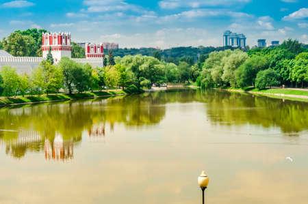 모스크바, 러시아에서 Novodevichy 수녀원 수도원의 전망. 유네스코 세계 문화 유산