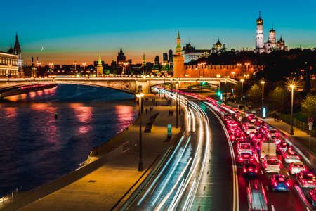 Top view of night wintry Moscow, the Kremlin, Big Stone bridge and Prechistenskaya embankment and Moscow river, Russia Stock Photo