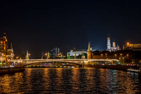 moscow river kremlin night, Moscow Russia