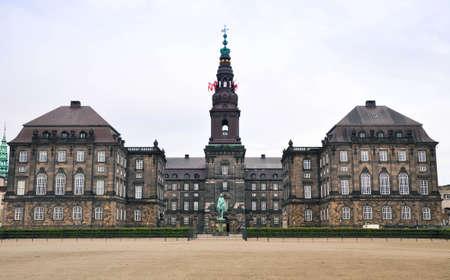 danish: Christianborg palace front view in Copenhagen, Denmark
