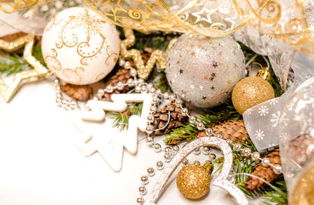 Christmas decorations on the white background. Stock Photo
