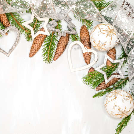 Christmas decoration with fir branch,silver Christmas ball