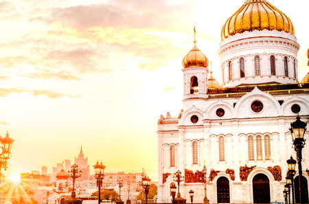 Cathedral of Christ the Saviour in Moscow, Russia, On the Sunset