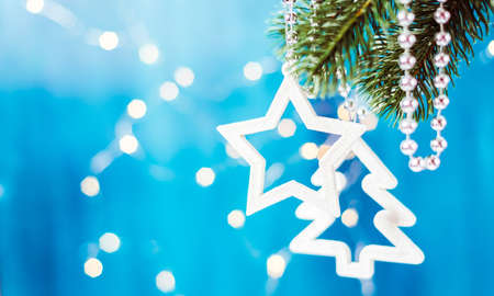 Merry Christmas and Happy New Year, Christmas decoration on a branch Stock Photo