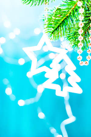 Blue and silver xmas decoration star on a branch with copy space. Merry christmas. Stock Photo