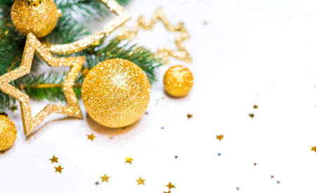 Collection of Christmas Balls Golden Christmas background, christmas card, place for text