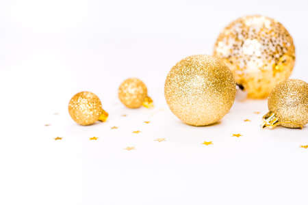 Golden Christmas background, christmas card, place for text Stock Photo