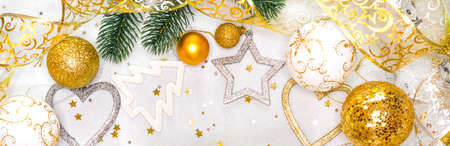 Christmas card with christmas ornaments, with Christmas balls, stars, gold and silver colors Stock Photo