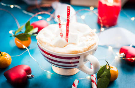CHRISTMAS COCOA in a red striped cup Christmas mood Stock Photo