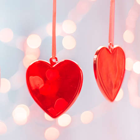 Two red hearts as background. valentines day concept,. Valentines day greeting card