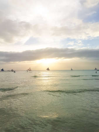 Sailing boat at beautiful colorful sunset Boracay