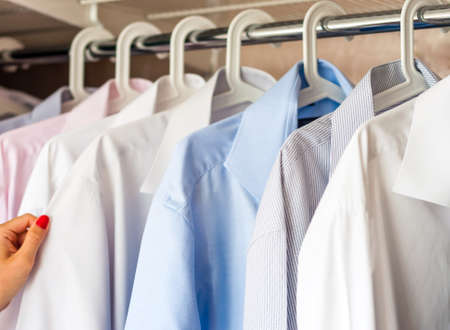 ironed shirts in the closet, selection Reklamní fotografie - 99665470