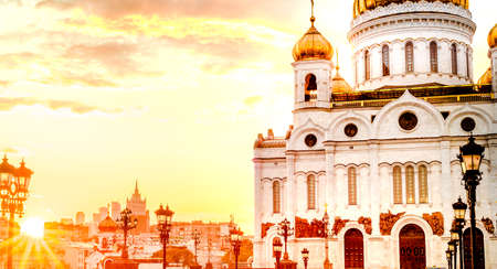 Sunset view of Cathedral of Christ the Savior in Moscow, Russia, architecture and landmark, cityscape