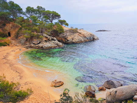 Beach of Platja d Aro, Costa Brava, Spain, picturesque beaches of Costa Brava Reklamní fotografie