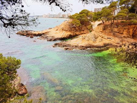 Beach of Platja d Aro, Costa Brava, Spain, picturesque beaches of Costa Brava Imagens