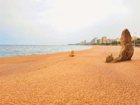 Mediterranean beach in Costa Brava, Platja d Aro, Spain.