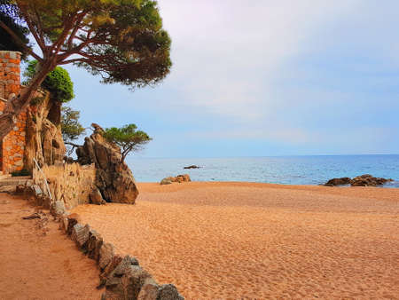 Mediterranean beach in Costa Brava, Platja d Aro, Catalonia, Spain.