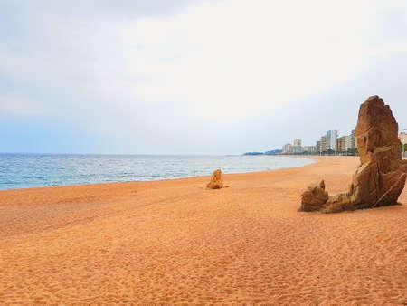 Mediterranean beach in Costa Brava, Platja d Aro, Catalonia, Spain.