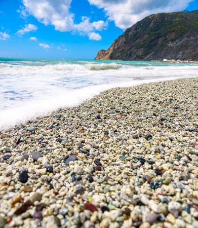 Waves, sea, mountains, Cinque Terre, Monterosso Al Mare, Italy