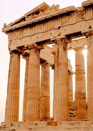 Parthenon on the Acropolis in Athens, Temple of Hephaestus, Greece, sunset