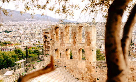 Acropolis of Athens, architectural monument, tourist attraction tourism Stok Fotoğraf