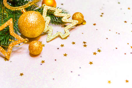 Christmas balls. Golden Christmas background, christmas card, place for text Stock Photo