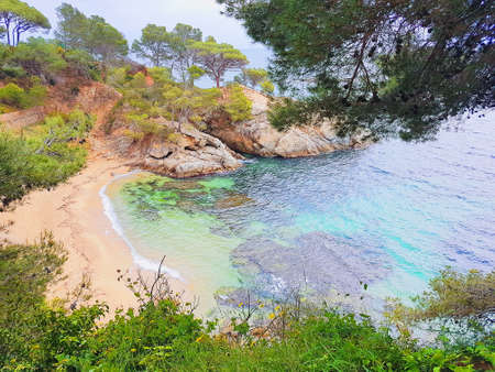 Beach of Platja d Aro, Costa Brava, Spain, picturesque beaches of Costa Brava