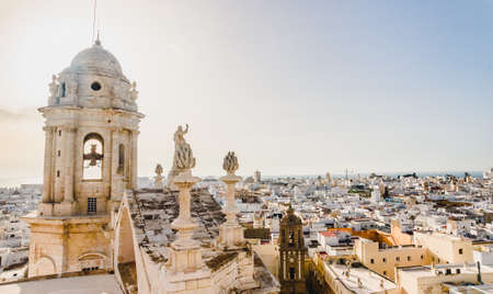 an aerial view of the roofs of Cadiz, Spain, from the belfry of its Cathedral Stock Photo